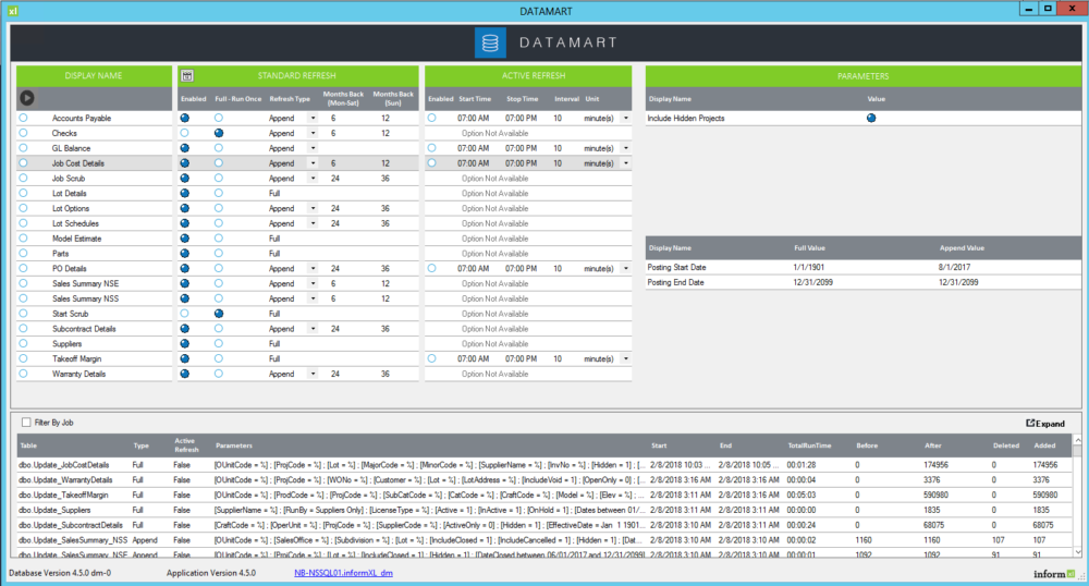 informXL Datamart New Console